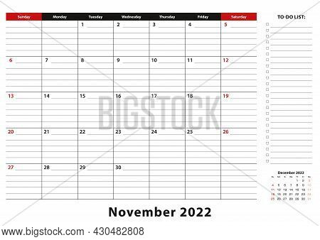 November 2022 Monthly Desk Pad Calendar Week Starts From Sunday, Size A3. November 2022 Calendar Pla