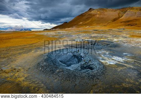 Mudpots In The Hverir Geothermal Area In Iceland
