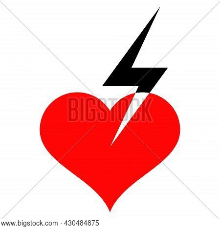 Heart Strike Icon With Flat Style. Isolated Vector Heart Strike Icon Image On A White Background.