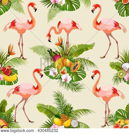 Pink Flamingos And Tropical Fruits.flamingos, Tropical Fruits And Palm Leaves In Color Vector Patter