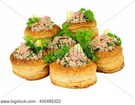 Tuna Fish Filled Puff Pastry Vol Au Vents Isolated On A White Background