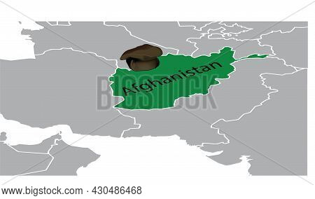 Map Of Afghanistan With Characteristic Headdress Map Of Afghanistan With Characteristic Headdress