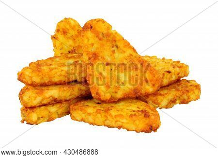Group Of Crispy Potato Hash Browns Isolated On A White Background