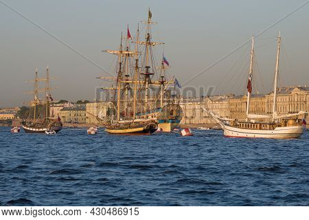 Saint Petersburg, Russia - July 26, 2021: Copies Of Old Sailing Ships That Participated In The Navy