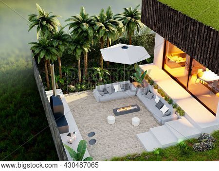 3d Illustration Drone View Of Luxury Villa With Tropical Garden And Wooden Patio. Terrace With Barbe
