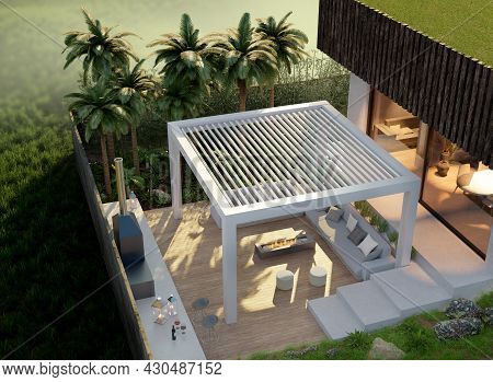 3d Illustration Of Modern Private Villa With Outdoor Patio. Top Drone View Of Wooden Teak Wood Deck