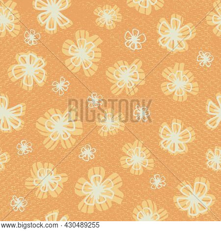 Seamless Childish Pattern With Yellow Doodle Flowers. Creative Kids Floral Texture For Fabric, Wrapp