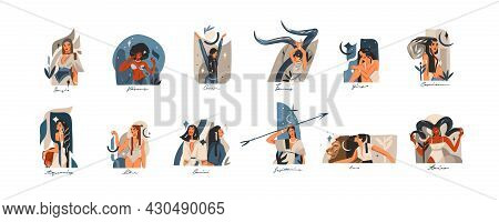 Hand Drawn Vector Stock Abstract Graphic Illustrations With Zodiac Astrological Contemporary Signs S