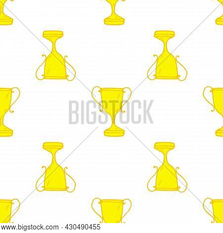 Vector Seamless Pattern Made Of Gold Cup. A Pattern Of A Yellow Cup In The Style Of Doodles Located