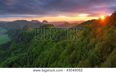 Green Forest Mountain At Sunset With Sun
