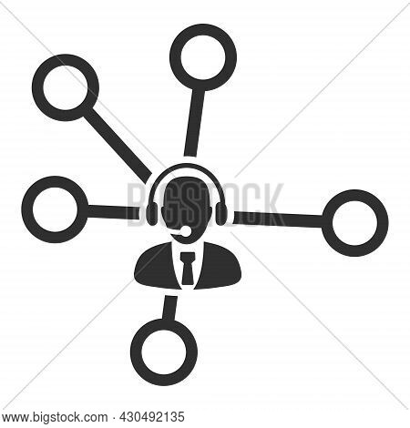 Call Center Links Icon With Flat Style. Isolated Vector Call Center Links Icon Image On A White Back