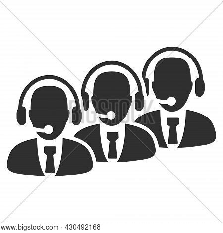 Call Center Staff Icon With Flat Style. Isolated Vector Call Center Staff Icon Image On A White Back
