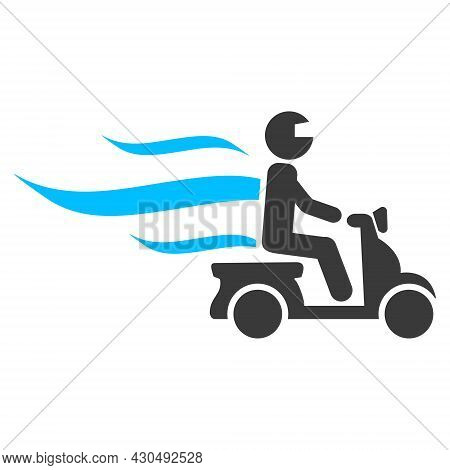 Fast Motorbike Courier Icon With Flat Style. Isolated Vector Fast Motorbike Courier Icon Image On A