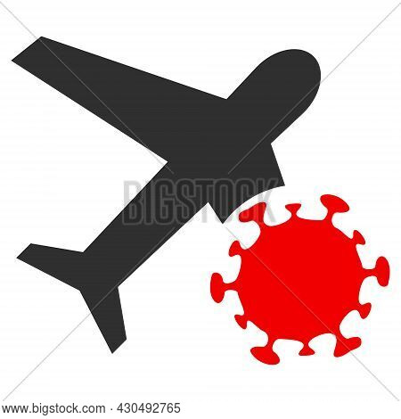 Infected Airplane Icon With Flat Style. Isolated Vector Infected Airplane Icon Image On A White Back
