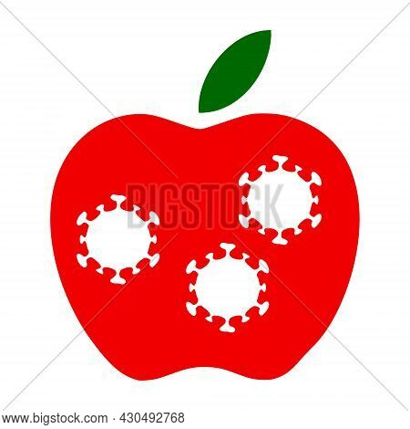 Infected Apple Icon With Flat Style. Isolated Vector Infected Apple Icon Image On A White Background