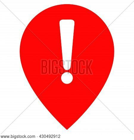 Notice Map Pointer Icon With Flat Style. Isolated Vector Notice Map Pointer Icon Image On A White Ba