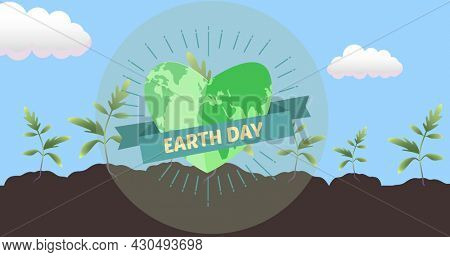 Composition of earth day text and globe logo over plants in soil with blue sky and clouds. global conservation and earth day concept digitally generated image.