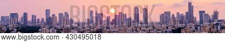 Tel Aviv Skyline, Ramat Gan and Givatayim City At Sunset,  Tel Aviv Cityscape Large Panorama At Sunset Time, Israel