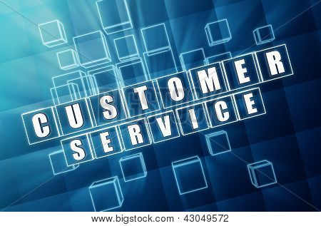 Customer Service In Blue Glass Cubes