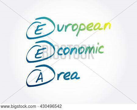 Eea - European Economic Area Acronym, Business Concept Background