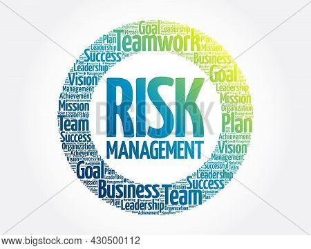 Risk Management Circle Word Cloud, Business Concept