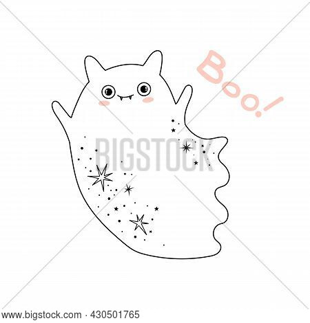 Cute Vampire Ghost In A Halloween Costume. Holiday October Halloween Design Vector Illustration. Cre