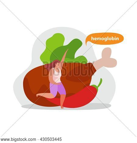 Healthy And Super Food Flat Icons Composition With Female Character And Meat With Pepper And Lettuce