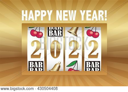 The Year 2022 New Year's Greeting Card Vector Template With A Coin Machine Display Celebrating The N