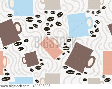 Seamless Abstract Background Of Cups And Coffee Beans. Artistic Vector Illustration. Use For Food Be