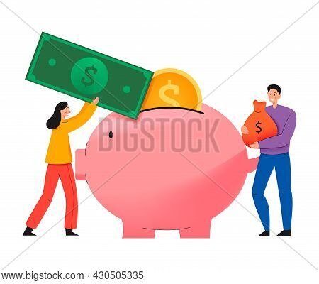 Crowdfunding Composition With Flat Icon Of Piggy Box And People Putting Cash Into It Vector Illustra