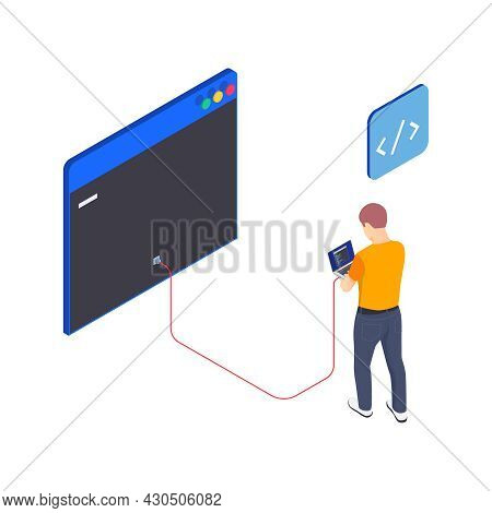 Programming Coding Development Isometric Icons Composition With Male Character Of Programmer With La