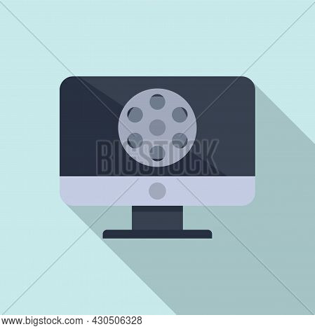 Pc Video Edit Icon Flat Vector. Mobile Editor. Digital Content