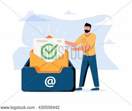 Man Putting Letter Or Mail Into Box. Concept Of Business Project Inbox, Mailbox, Email, Electronic A