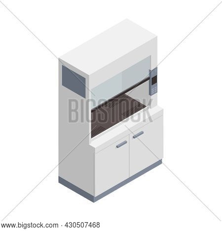 Microbiology Biotechnology Isometric Composition With Isolated Image Of Rack Cabinet For Laboratory