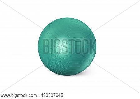 Dark Green Fitness Ball Isolated On White Background. Pilates Training Ball. Fitball 3d Rendering Mo