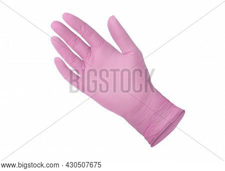 Medical Gloves. Pink Surgical Gloves Isolated On White Background With Hands. Rubber Glove Manufactu