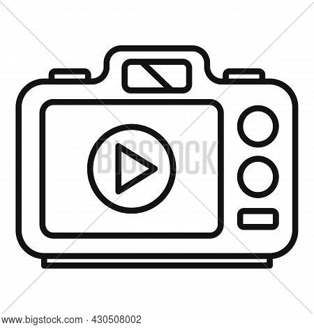 Photo Camera Icon Outline Vector. Digital Picture. Flash Photography