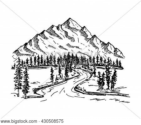 Mountain With Pine Trees And Landscape Black On White Background. Alpine Landscape, Forest And Mount