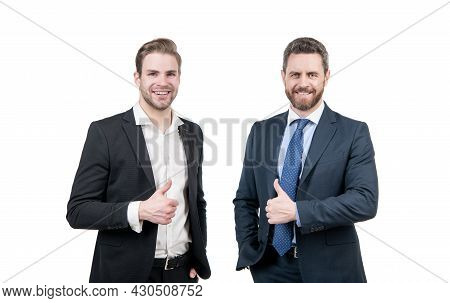 Ambitious Colleague Experts. Two Men In Formal Suit. Businessmen Isolated On White.