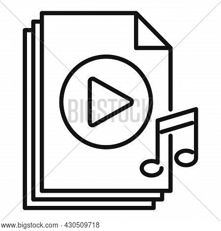 Playlist File Icon Outline Vector. Music Song. Mobile File Play