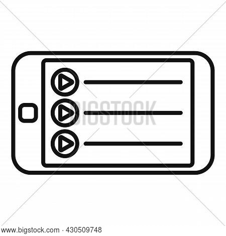 Smartphone Playlist Icon Outline Vector. Music Song. Mobile App