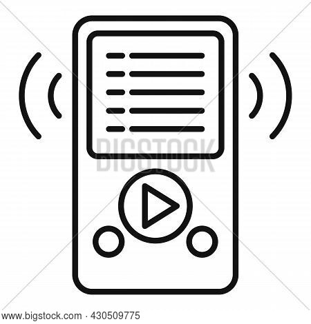 Music Player Playlist Icon Outline Vector. Song List App. Play Mobile Phone