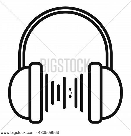 Headphones Playlist Icon Outline Vector. Music Song. Mobile Player