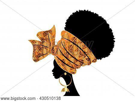 Portrait Beautiful African Woman In Traditional Wax Turban Handmade Wedding Tribal Motif, Kente Head