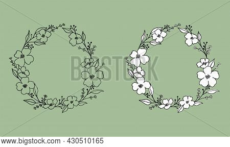 Hand Drawn Anemone Flowers, Leaves And Lavender Wreath In Cute Doodle Style. Luxury Vector Llustrati