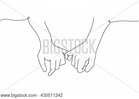 Continuous One Line Of Friendship Day With Holding Promise Hands In Silhouette. Linear Stylized. Min