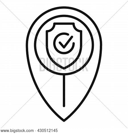 Reliability Location Icon Outline Vector. Fast Delivery. Auto Cab
