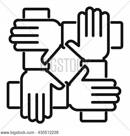 Reliability Group Icon Outline Vector. Social Hand. Business Team