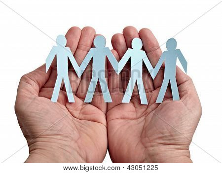 Paper People In Hands Cut Connection Chain