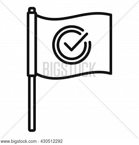 Reliability Flag Icon Outline Vector. South Customer. Reliable Shield